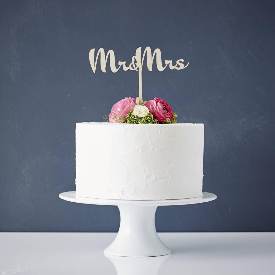 زفاف - Calligraphy Mr and Mrs Wooden Wedding Cake Topper