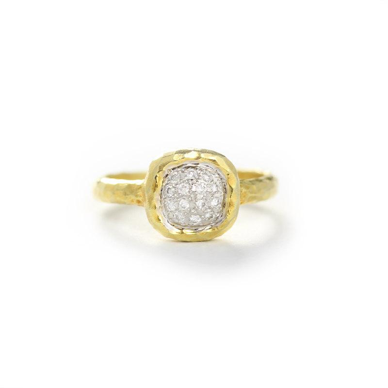 Mariage - 14k yellow gold hammered cushion shape diamond ring in pave set,Size6.5 Anniversary wedding bridal jewelry