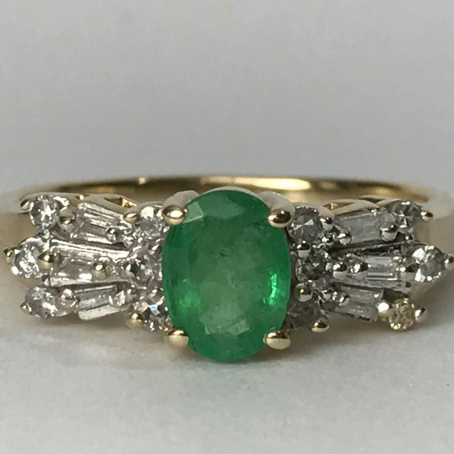 Vintage Emerald Engagement Ring Art Deco Diamond Accents 10K Solid