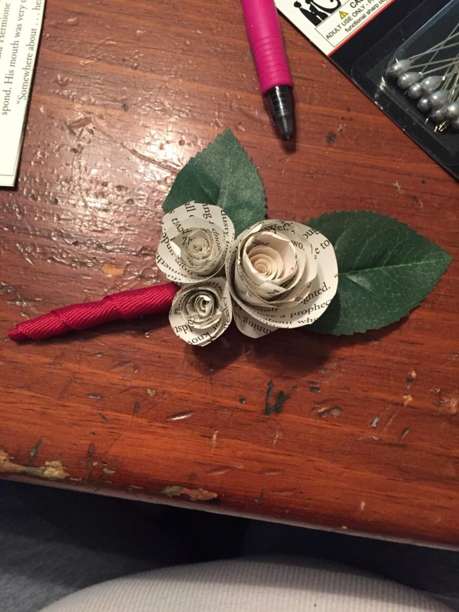 Wedding - Harry Potter book page flower Boutonniere