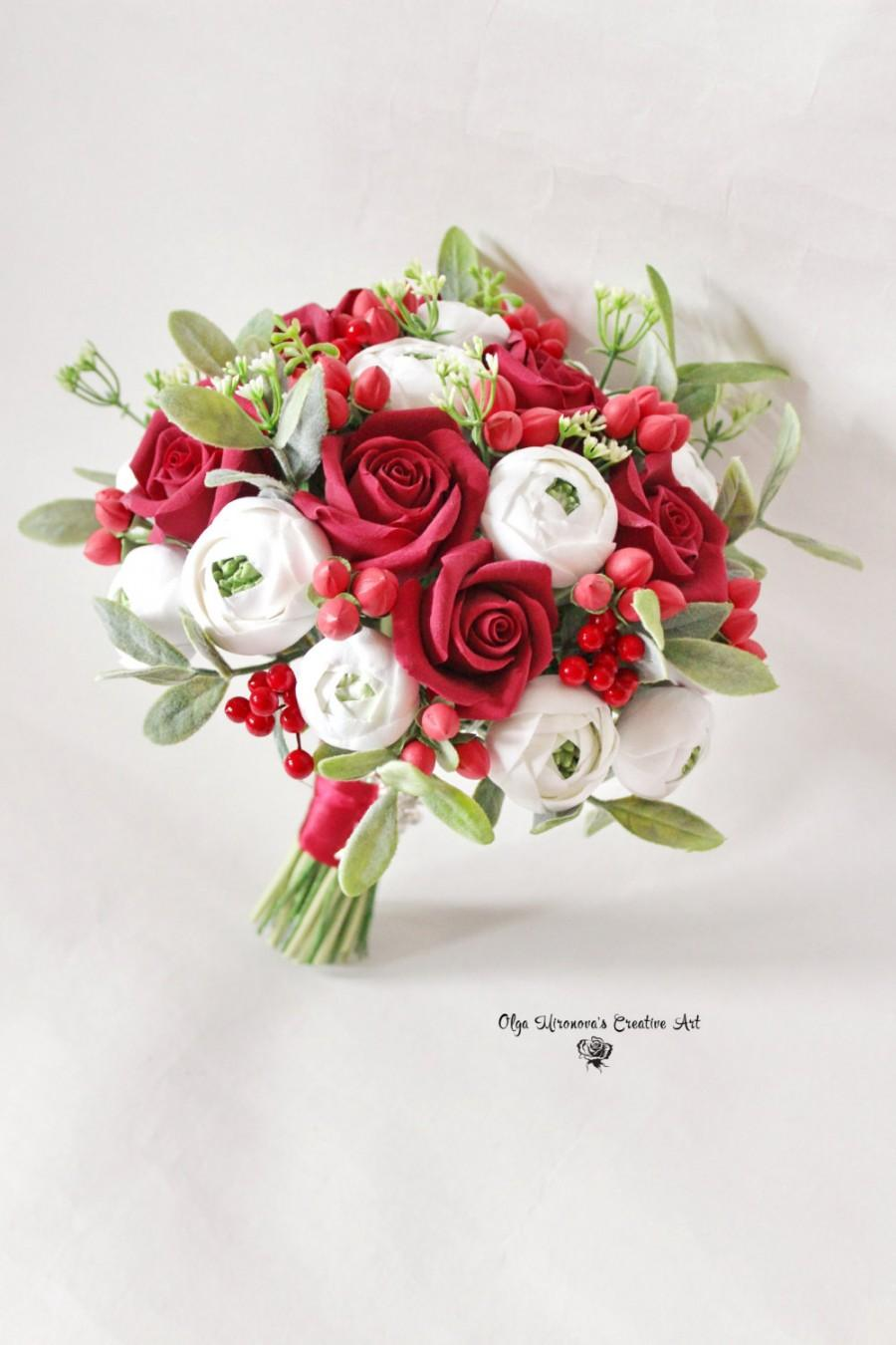 Red And White Alternative Wedding Bouquet Keepsake Red Roses