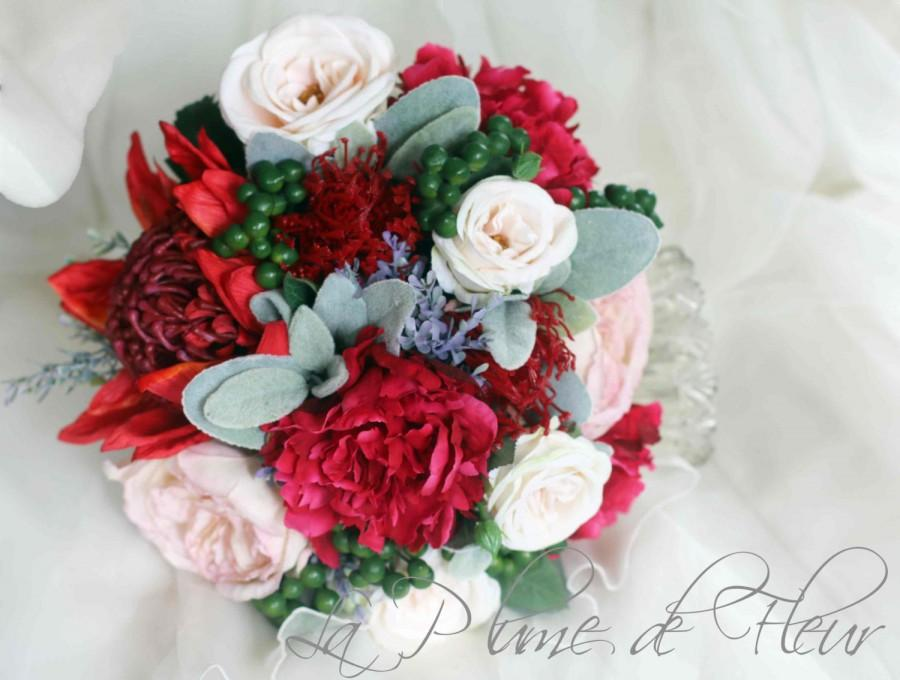 Wedding - Ruby - Wedding Bouquet, red, cream, blush flowers. Roses, peonies, waratah with green berries and grey foliage. Cottage and native flowers.