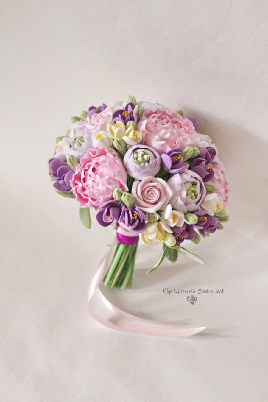 Wedding bridal clay flowers bouquet purple pink romantic bouquet wedding bridal clay flowers bouquet purple pink romantic bouquet hand bouquet guest favor small bridal bouquet pink peony bouquet lavender izmirmasajfo Images