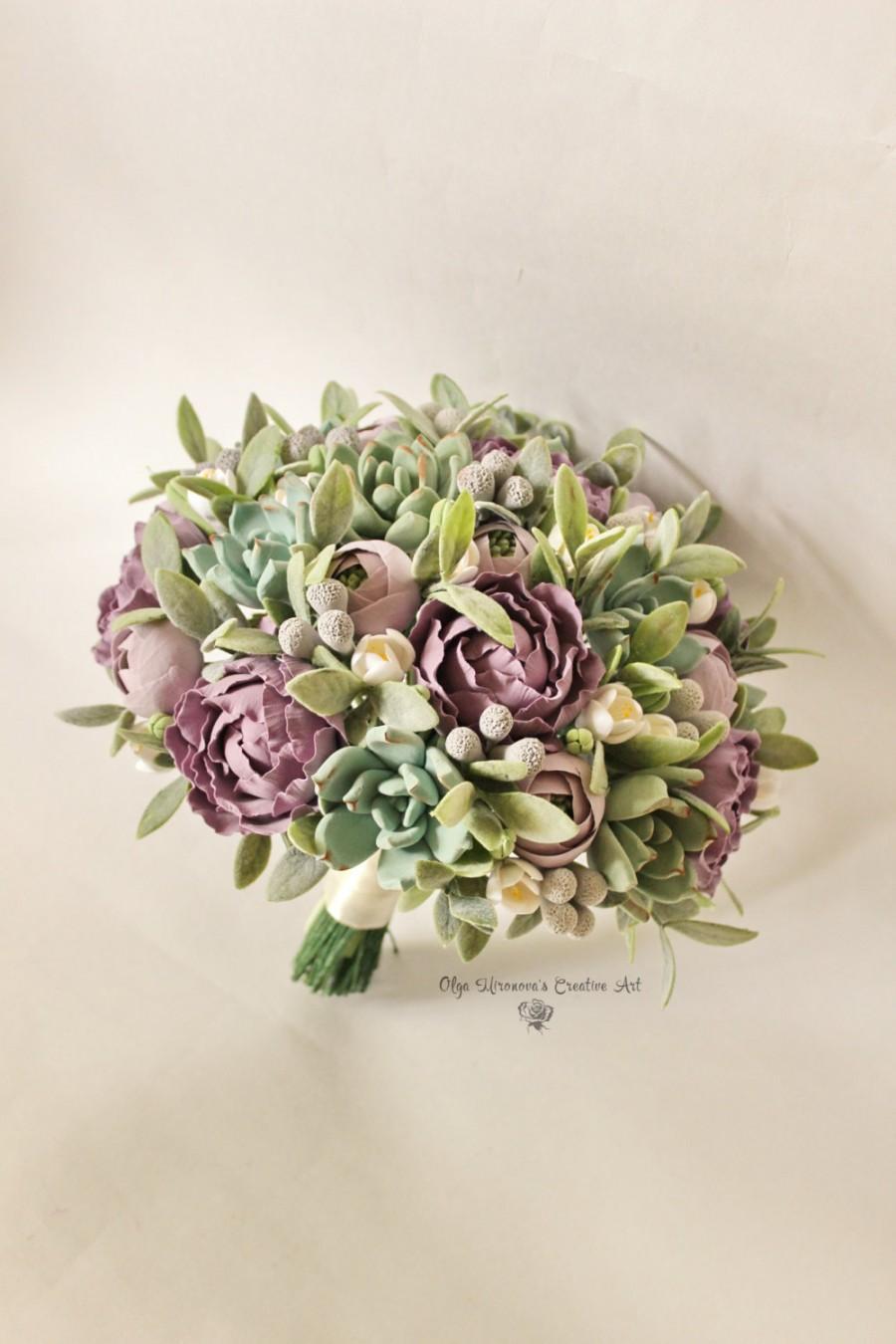 Wedding - Alternative wedding bouquet Keepsake succulent bouquet Bohobouquet Bridal bouquet with succulents and peonies Dusty Purple bouquet