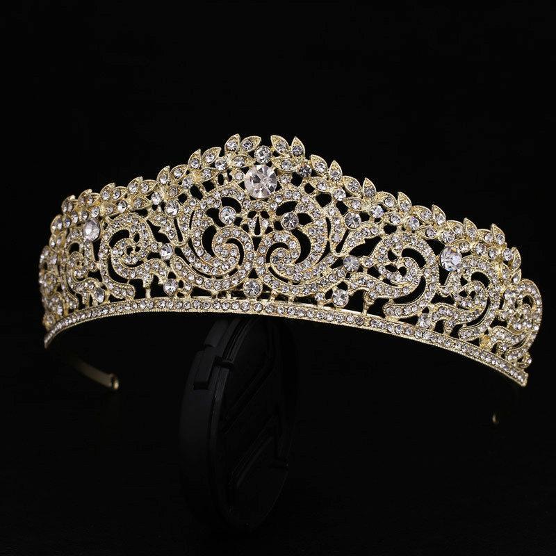 Свадьба - Gold Wedding Tiara Gold Bridal tiara Swarovski Gold Bridal Tiara Crystal Wedding Crown Rhinestone Tiara Crystal Crown Wedding Headpiece