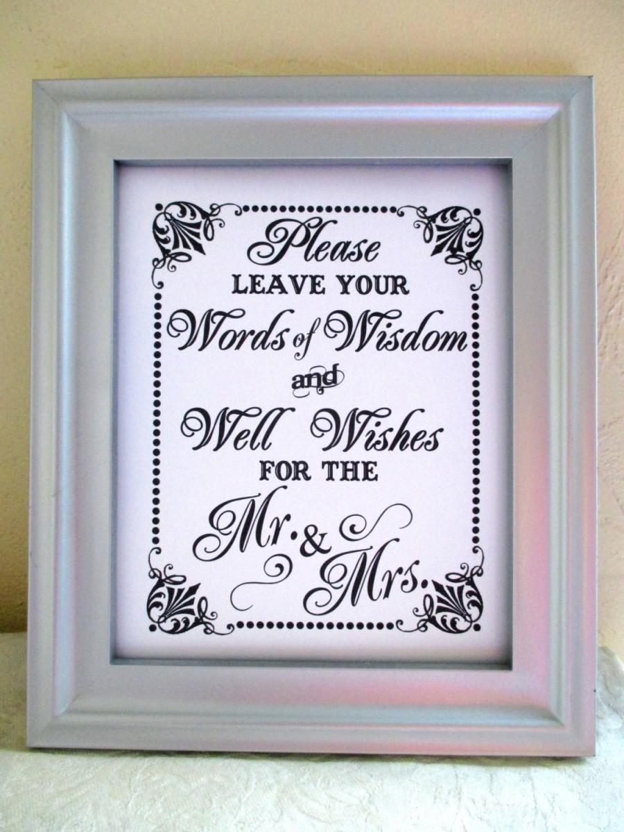 Words Of WISDOM And Well Wishes For The Mr And Mrs - Wedding Sign ...
