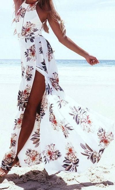 Wedding - Elegant Halter Neck Floral Print Maxi Dress