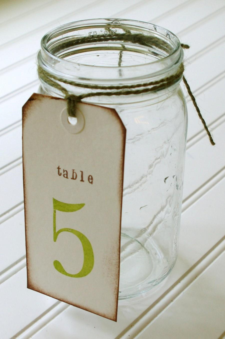 Unique Table Numbers: Hand Stamped Shipping Tags. Wedding Table ...