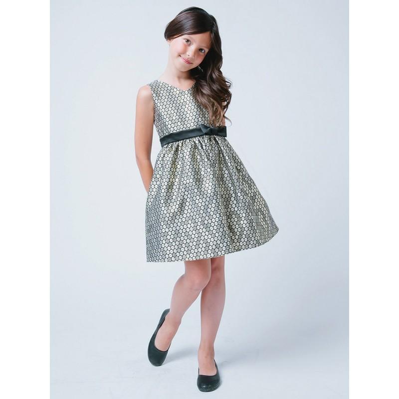 Свадьба - Gold V-Neck Polka Dot Jacquard Dress Style: DSK518 - Charming Wedding Party Dresses