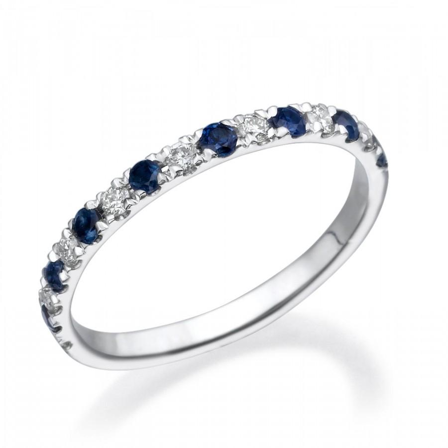 This is an image of Half Eternity Wedding Band, Anniversary Ring For Her, 40k White
