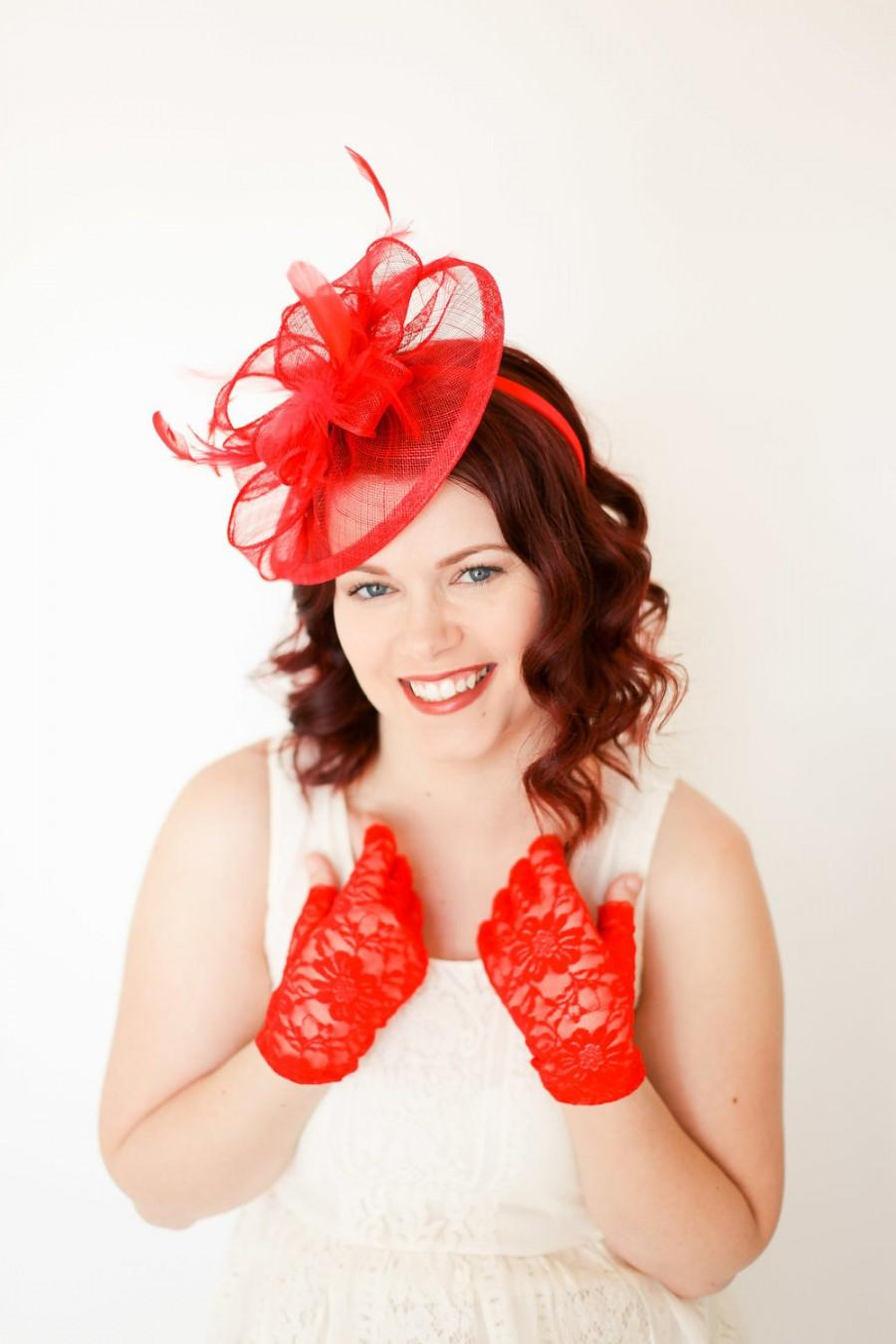 Boda - Red Fascinator, Tea Party Hat, Church Hat, Kentucky Derby Hat, Fancy Hat, Red Hat, Tea Party Hat, wedding hat, Red Fascinator, womens hat