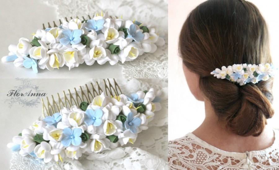 Boda - blue comb, flower comb, wedding stuff, bride comb, fresia corsage, bridesmaids comb, gift for her, hydrangea headband, hydrangea comb, blue