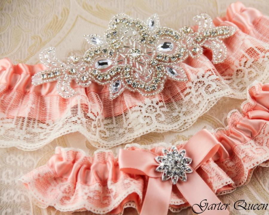 Wedding - Peach Wedding Garter Set, Lace Wedding Garter Set, Bridal Garter Set, Rhinestone Garter, Custom Color Garter, Personalized Garters