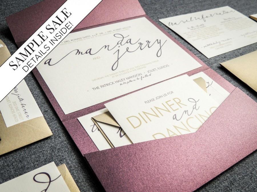 "Mariage - Modern Wedding Invitations, Purple Wedding Invitation Set, Calligraphy Wedding Invitation, Eggplant and Gold - ""Modern Calligraphy"" PF-NL-v1"