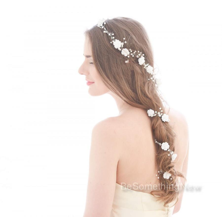 Mariage - Extra Long Wedding Hair Vine Beaded Wedding Headpiece with Pearls Rhinestones and Flowers Floral Hair Vine