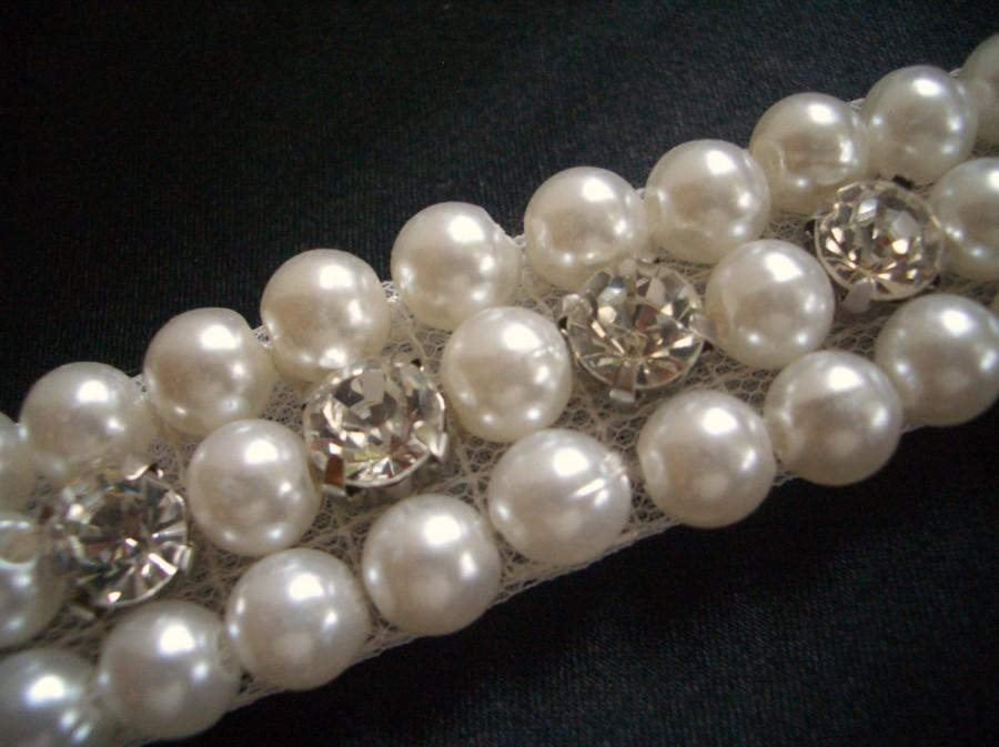 Wedding - Crystal Rhinestone beaded pearl trim for Bridal Belt, Wedding Gown Sash, Decoration.