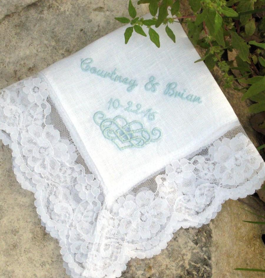 Mariage - LACE HANDKERCHIEF, For the Bride, Wedding, Communion, Graduation, Personalized, Cutwork Embroidery, Gift Box, Linen & Lace Hanky 11x11