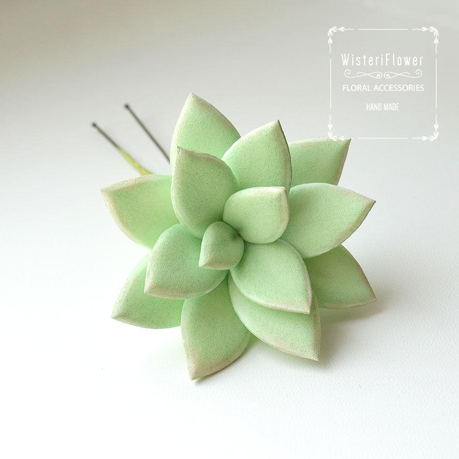 Mariage - Succulent Hair pin Rustic wedding mini succulents Plants Succulent Jewelry hair accessories Birthday Gifts Flower for hair Gift for her