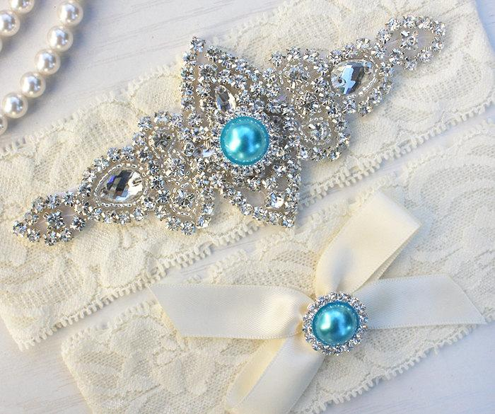 Boda - SALE - Best Seller - CHLOE II - Turquoise Wedding Garter Set, Lace Garter, Rhinestone Crystal Bridal Garters, Something Blue