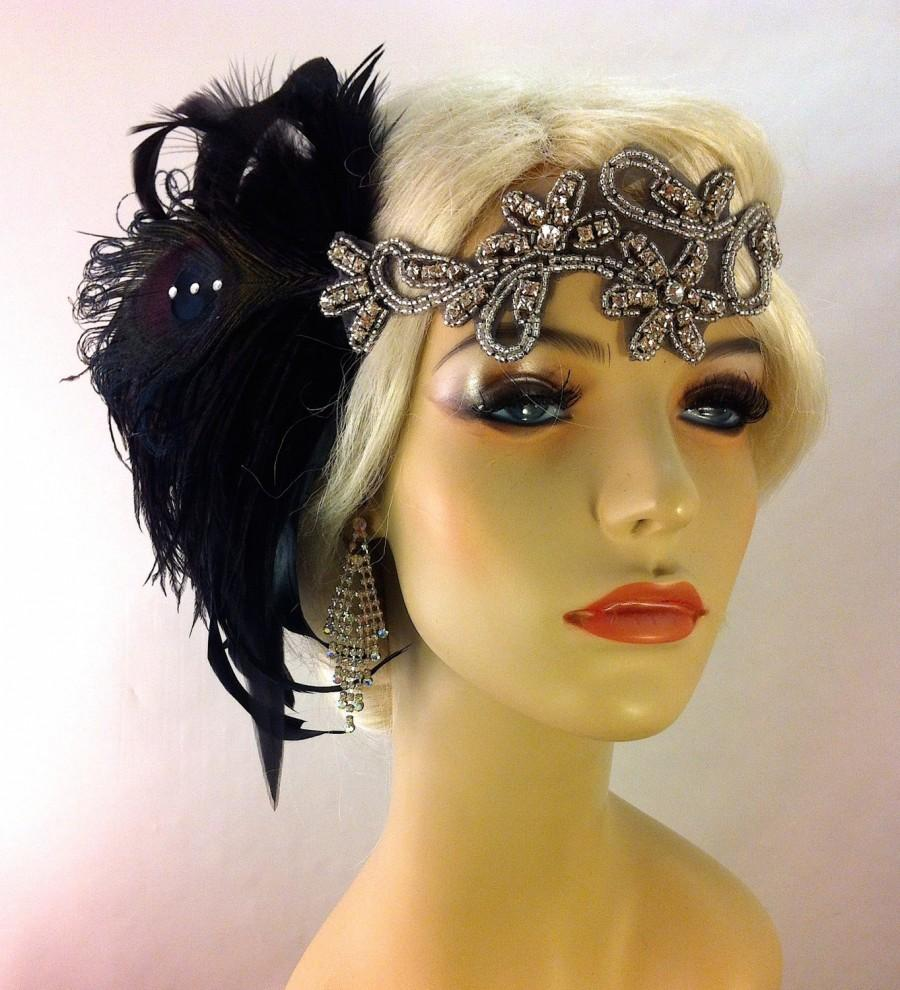 Mariage - Art Deco Flapper Headband, The Great Gatsby, 1920s Headpiece, Daisy Buchanan, 1920s Flapper, Flapper Headpiece, Black and Silver Headband