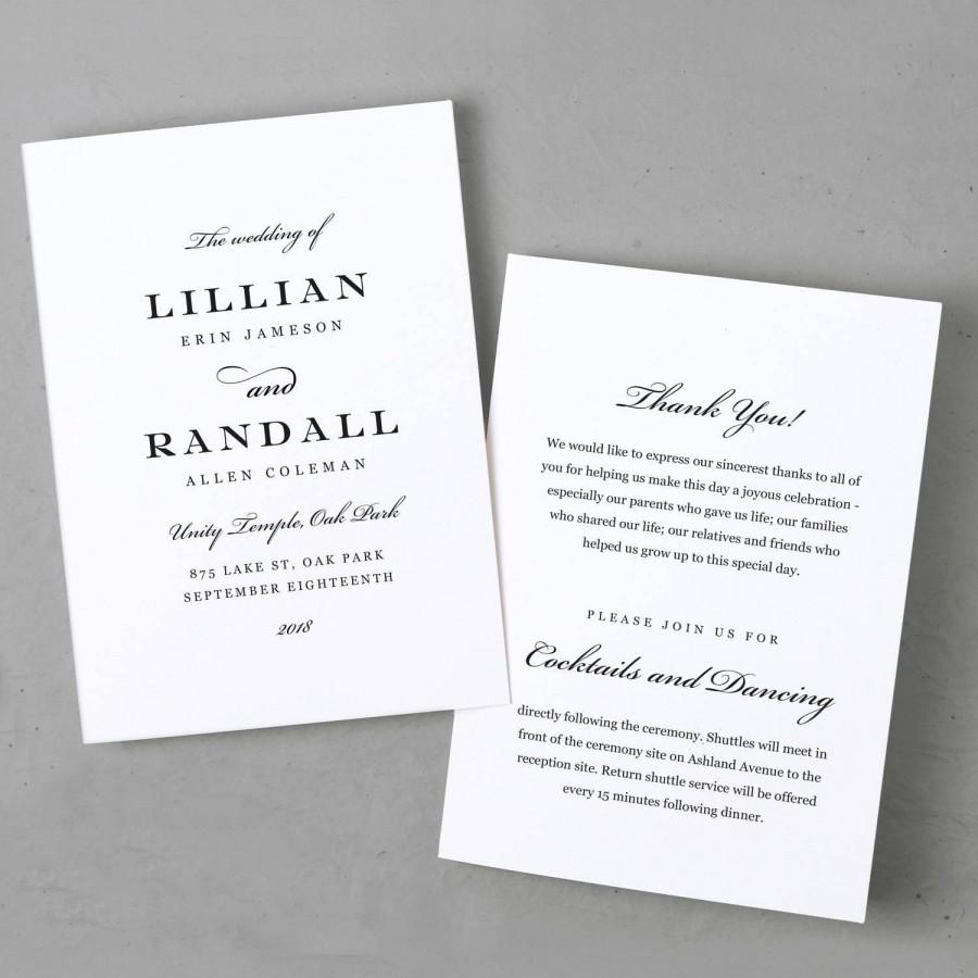 Mariage - Wedding Program Template, Printable Wedding Program, Folded, Order of Service,  Formal Script, Cheap Programs, Mac or PC, INSTANT DOWNLOAD