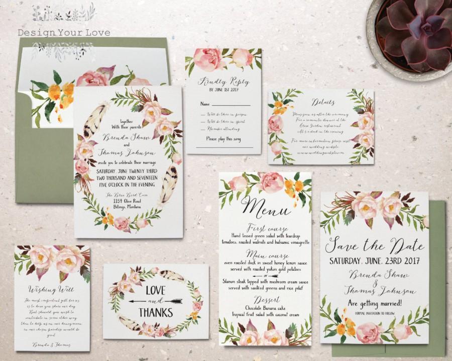 Wedding - printable wedding invitation set printable floral wedding invite boho wedding invitation suite bohemian watercolor floral spring wedding