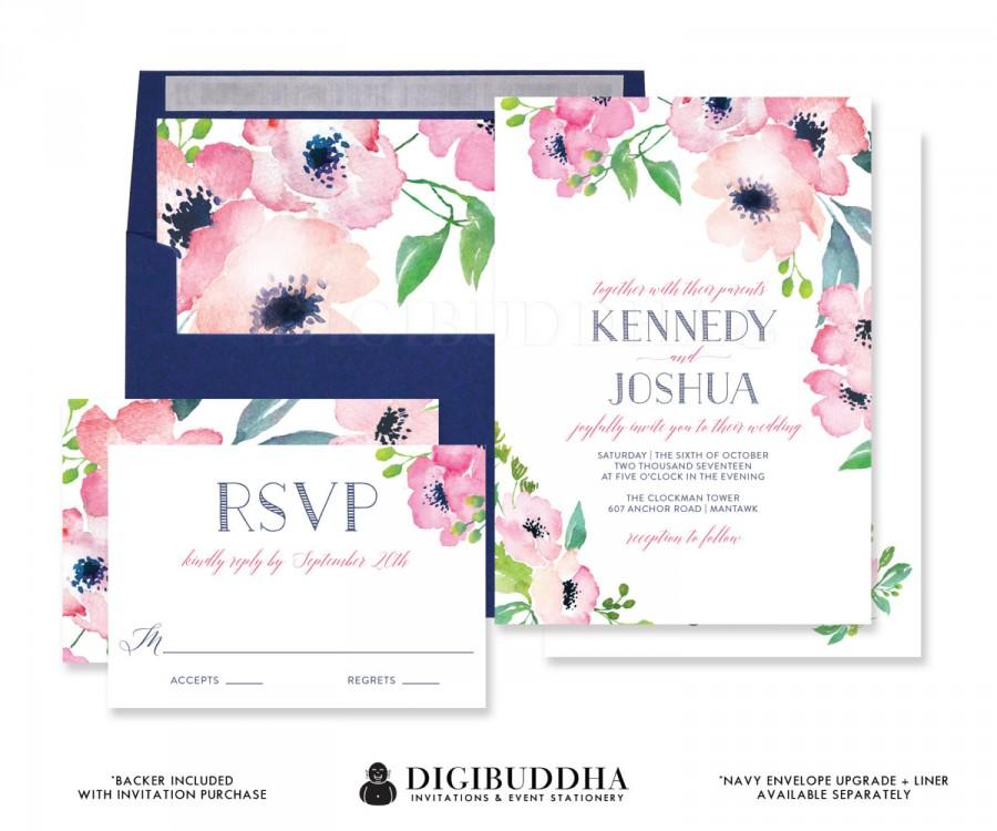 Mariage - FUCHSIA & NAVY WATERCOLOR Flowers Wedding Invitation and RSvP Boho Floral 2 Pc Suite Blush Pink Blue Free Priority Shipping or DiY- Kennedy