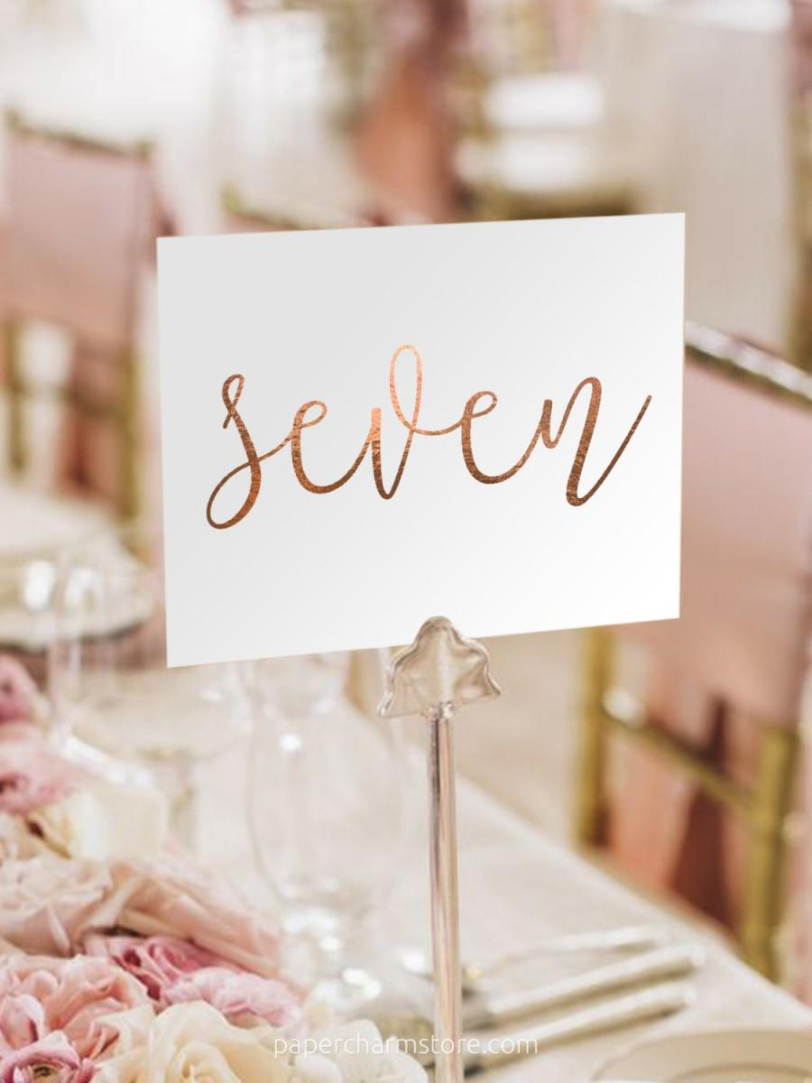 زفاف - Notulen Rose Gold Foil Table Numbers - Rose Gold Table Number Cards - Two Sided - Wedding Table Numbers with Rose Gold Foil #TN101RG