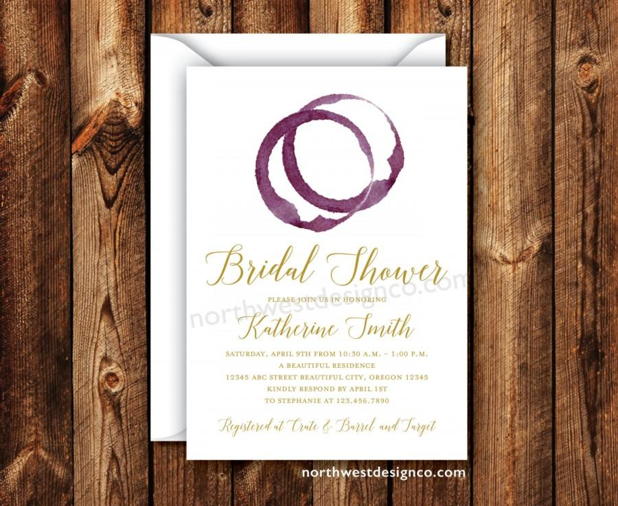wine themed bridal shower invitation gold purple burgundy wine ring wedding shower invite 5x7 digital file or printed invitation