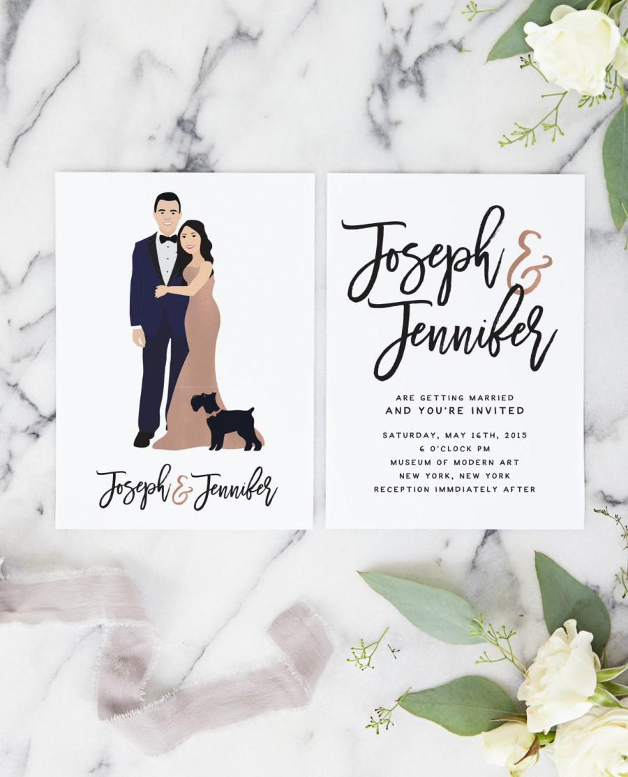 Rose Gold Wedding Invitations With Couple Portrait For Unique ...