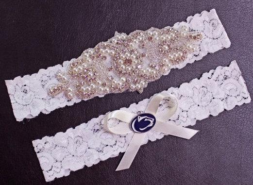 Boda - Penn State Wedding Garter Set, Penn State Garter, Penn State Bridal Garter Set, White Lace Wedding Garter, Nittany Lions Garter
