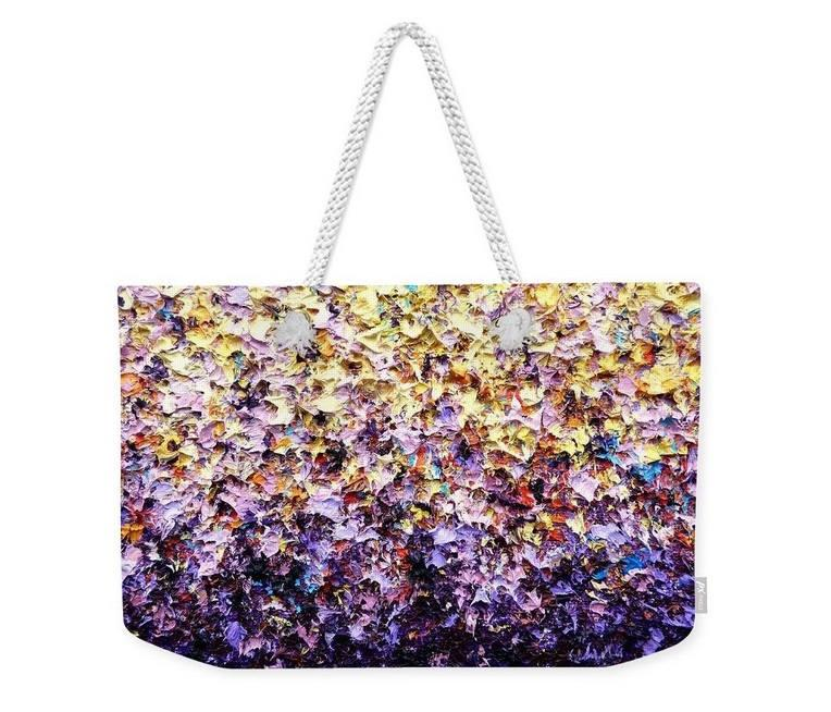 Mariage - Tote Bag, Large Travel Bag, Multicolored Weekender Bag, Shoulder Bag, Colorful Overnight Bag, Lavender and Yellow Market Bag, Luggage Bag