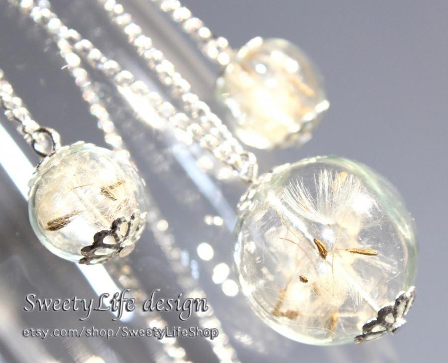 Wedding - Make a wish Set, Real Dandelion Seed Necklace and Earrings, Botanical Jewelry, Nature pendant, Hand-made jewelry, Bridesmaid Gift, OOAK