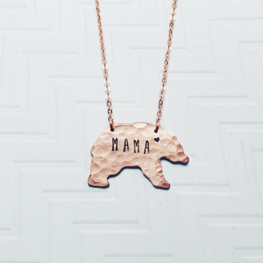 Düğün - Mama Bear Necklace - Hand Stamped Necklace - Gift For Mom - Gift For Her - Mothers Day Gift - Copper Rose Gold - Heart