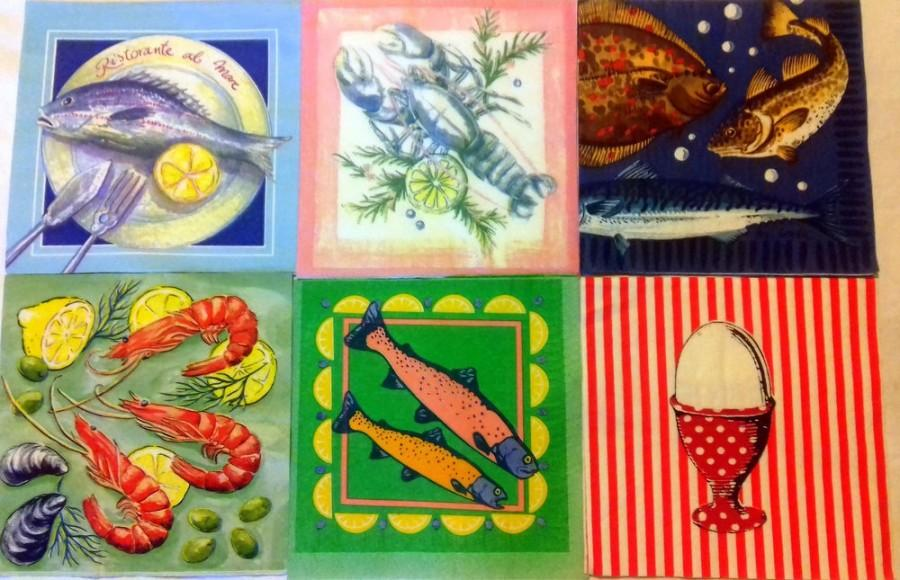 Nozze - Paper napkins for decoupage, 6 pc napkin set, serviettes, decoupage paper, seafood napkins, sea serviettes, summer napkins, fish napkins