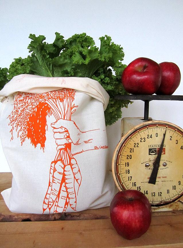 Mariage - Reusable Produce Bags - Set of 2 - Screen Printed Natural Cotton Produce Bags - Eco Friendly - Carrots - Bulk - Produce - Grocery Bags