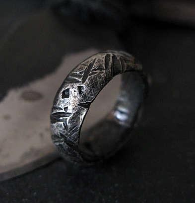 Wedding - Man Wedding Band Mens Wedding Band Viking Jewelry Viking Wedding Band Fine Silver Ring Domed 7mm Mens Ring Boyfriend Gift Hammered Silver Ba