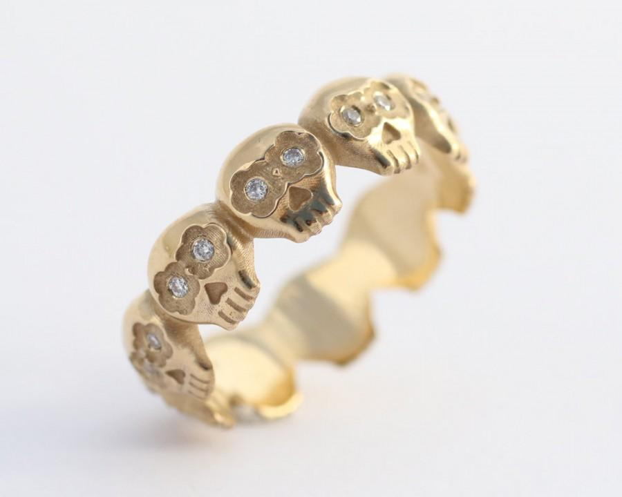 Свадьба - Diamond Skull Ring, 18K Gold Wedding Band, Gold Diamond Wedding Ring, Gold Skull Wedding Ring, Gothic Wedding Rings, Skull Eternity Ring
