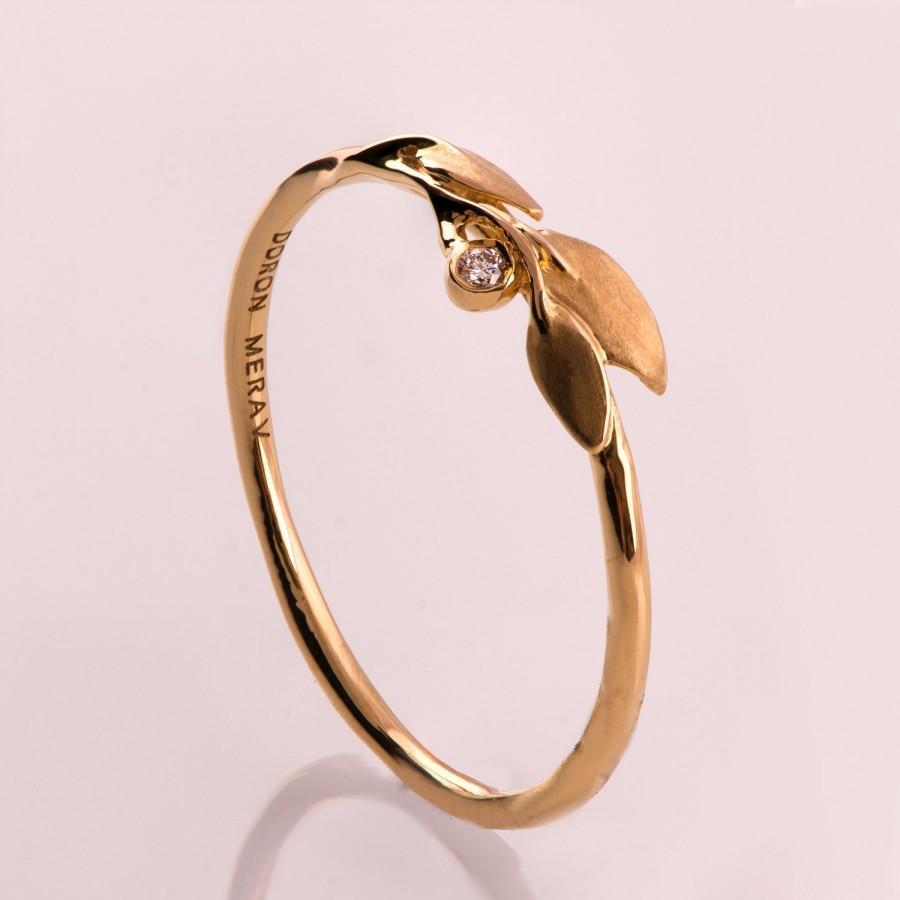 Свадьба - Leaves Diamond Ring No. 1 - 14K Rose Gold and Diamond engagement ring, engagement ring, leaf ring, filigree, antique, art nouveau, vintage
