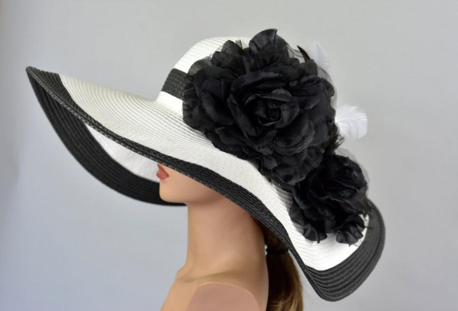 Mariage - Black White Strips Woman Party Hat Kentucky Derby Hat Tea Hat Wedding Accessory Cocktail Party Hat Church Hat
