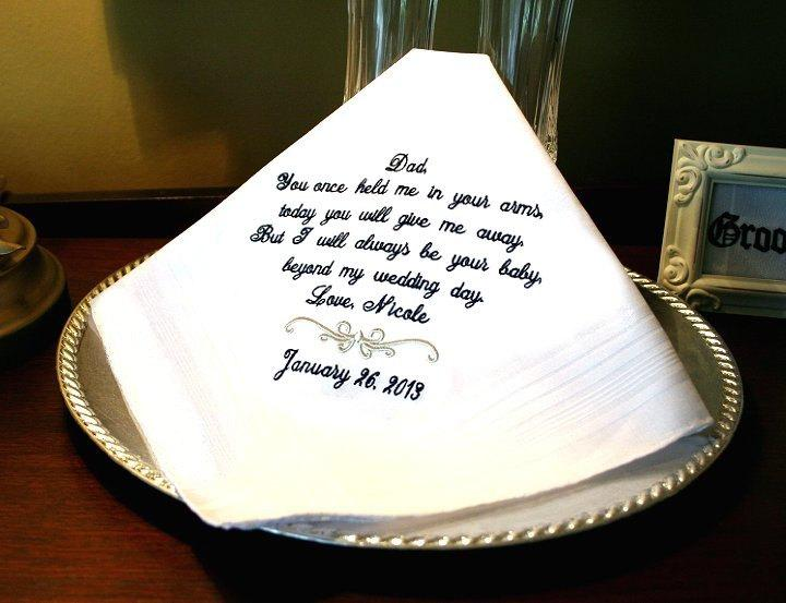 Boda - Father of The Bride - Wedding Handkerchief - Hanky - Once held Me in Your arms - Gift for Father of the Bride - Weddings - Mister and Mrs.