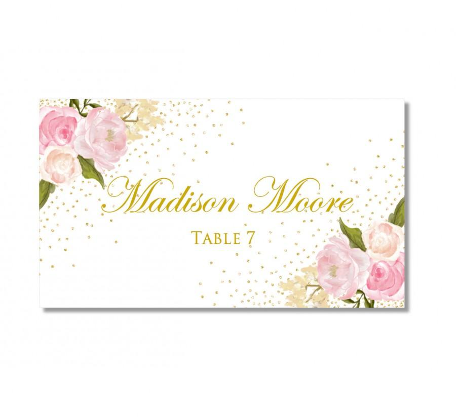 Printable Wedding Place Cards Romantic Floral Gold Sparkles Rustic Vintage INSTANT DOWNLOAD Microsoft Word CL111