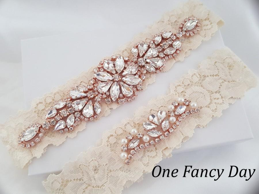 Boda - Crystal pearl Wedding Garter Set, Stretch Lace Garter, Rhinestone Crystal Bridal Garters, Rose Gold Garter