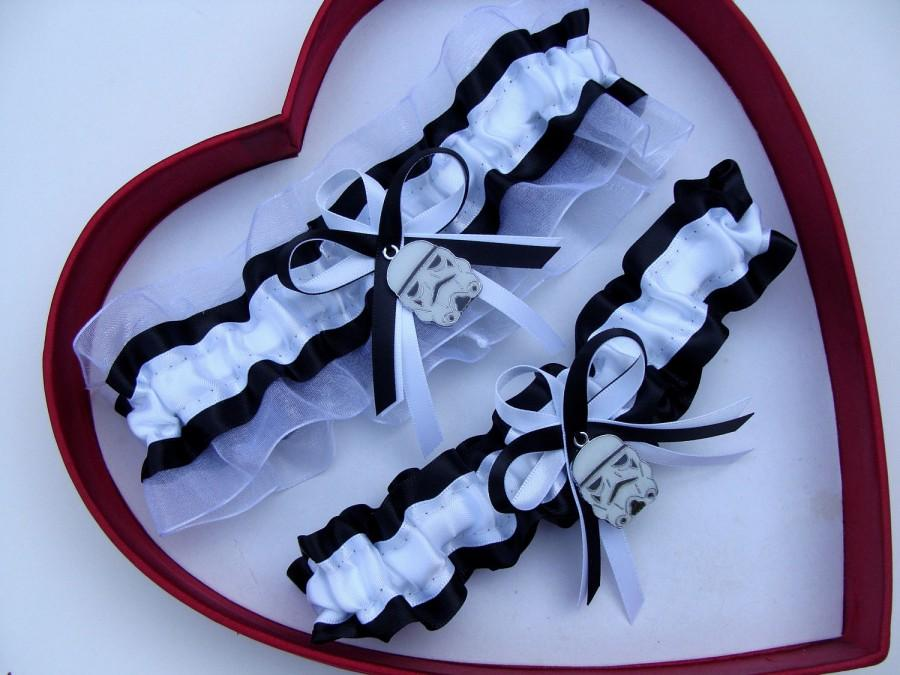 Mariage - New Handmade Star Wars Stormtrooper Wedding Garter White Black Prom Garters Homecoming Dance  Wedding Garter Set