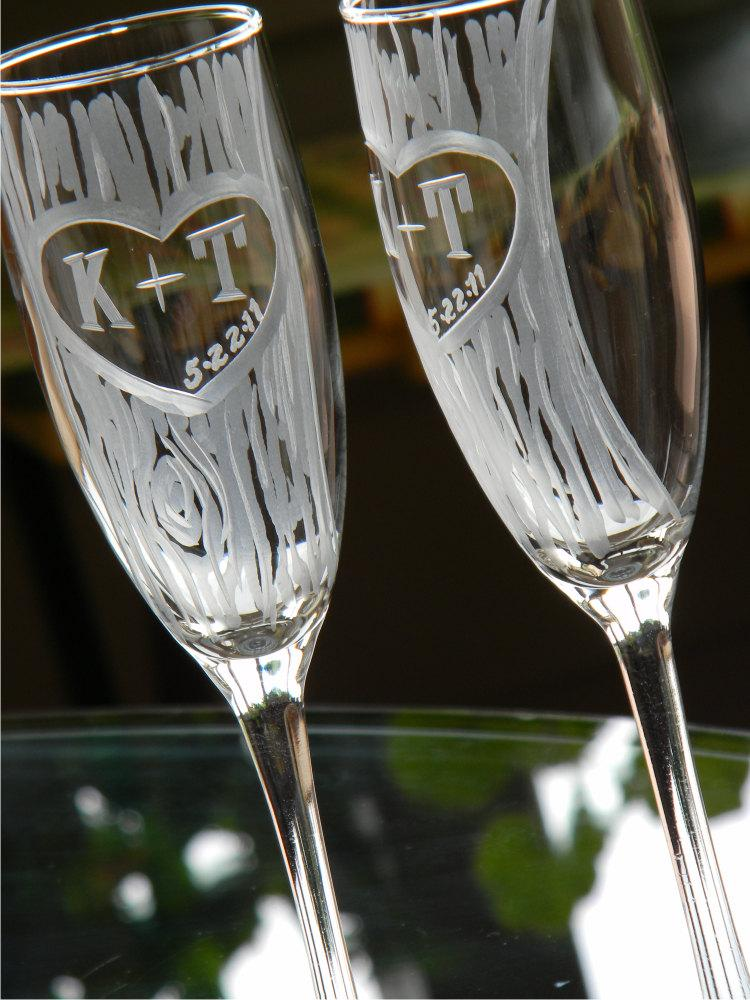 Wedding - Champagne Glasses with Hand Carved Tree and Heart Design with Custom Initials, Set of 2