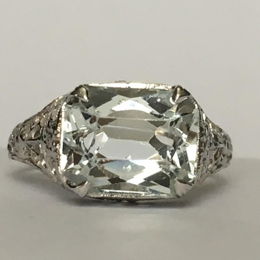 Свадьба - Vintage Aquamarine Ring. 14k Gold. Art Nouveau Filigree. 2 Carat. Unique Engagement Ring. March Birthstone. 19th Anniversary. Estate Jewelry