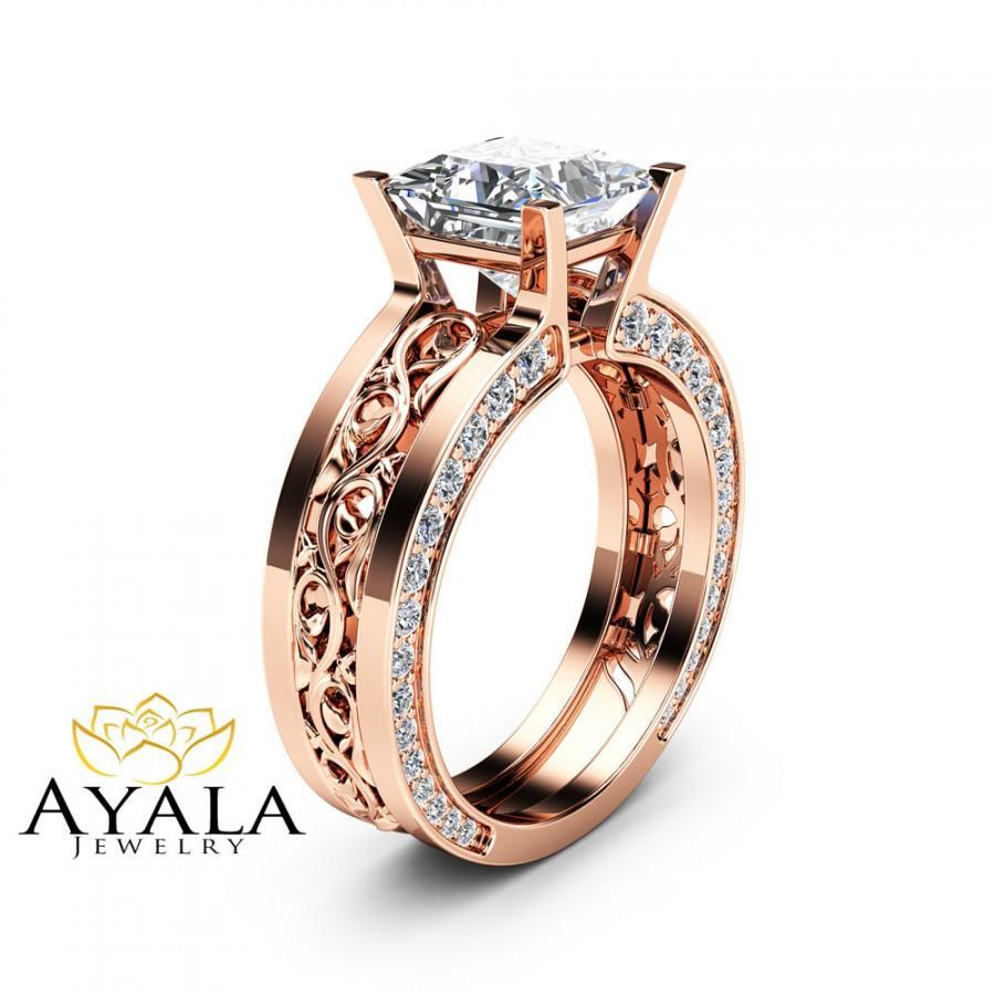 Mariage - Unique Princess Moissanite Ring 14K Rose Gold Engagement Ring 7mm Moissanite Engagement Ring