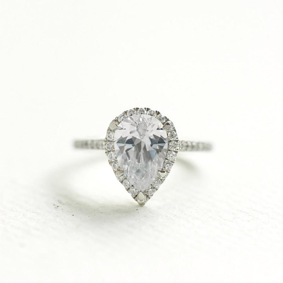 Mariage - Cubic Zirconia Engagement Ring - Pear Cut Sterling Silver Ring - Anniversary Ring - Affordable Engagement Ring - Tear Drop Ring - A23