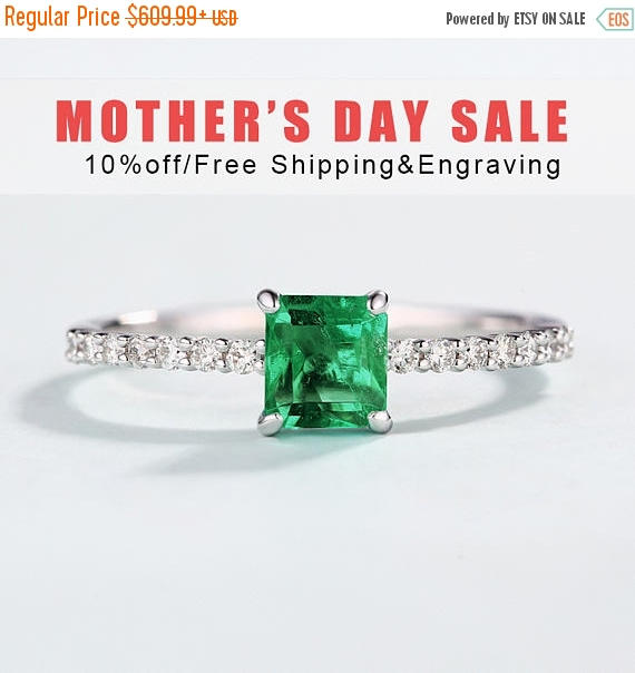 Wedding - 10% OFF Square Emerald Ring Vintage, 14K White gold Unique Engagement Ring, Anniversary gift for women, promise ring, micro pave ring, mothe