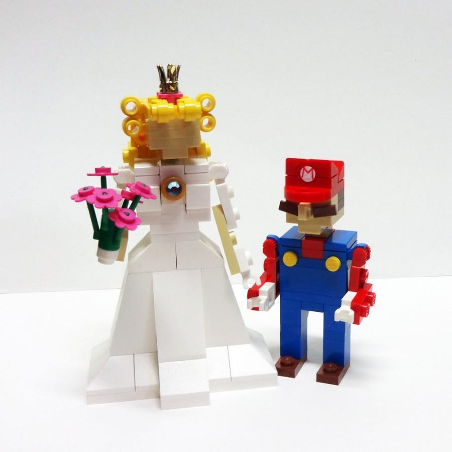 زفاف - Mario and Princess Peach Wedding Cake Topper